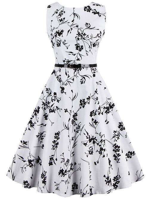 LaceShe Women's Floral Sleeveless Simple Large Swing Dress