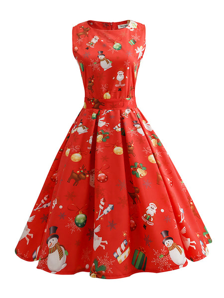 Laceshe Women's Christmas Lollipop Maxi Causal Dress