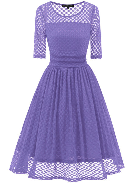 LaceShe Women's Half Sleeveless Big Swing Lace Dress