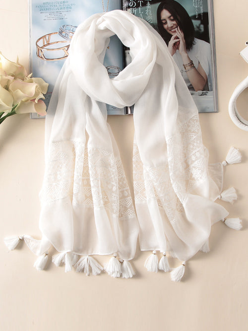 LaceShe Women's Lace White Tassel Scarf