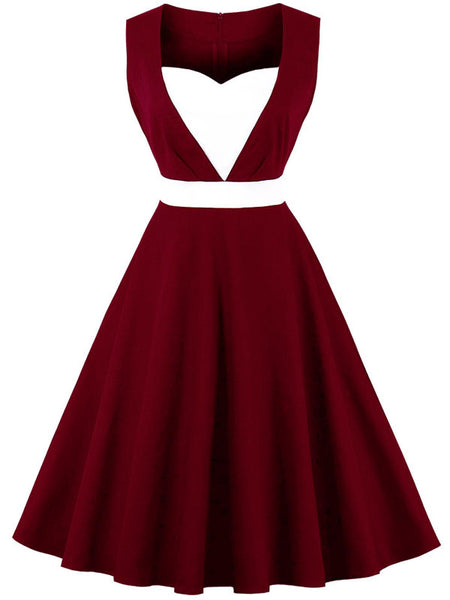 LaceShe Women's lovely Heart-Shaped Collar Vintage Dress