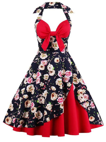 LaceShe Women's Halter Sexy Floral Pattern Vintage Dress