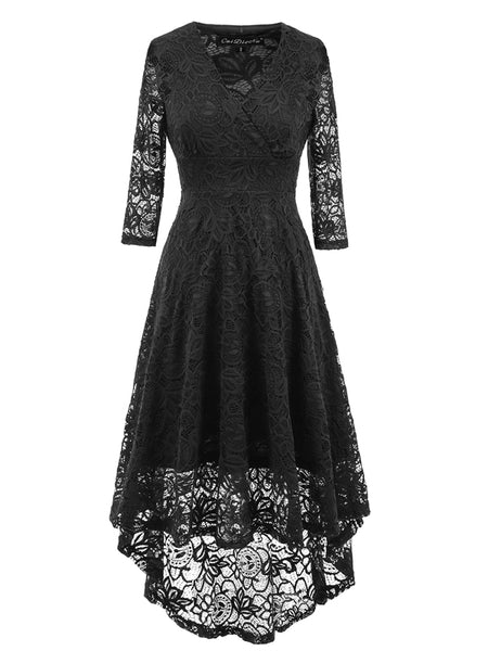 LaceShe Women's Vintage Lace Cocktail Evening Party Swing Dress