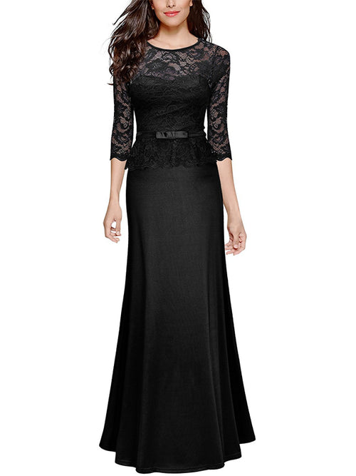 LaceShe Women 2/3 Sleeve Lace Maxi Dress