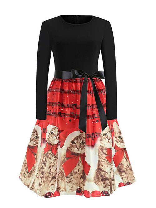 Laceshe Women's Cute Christmas Cat Print Vintage Dress
