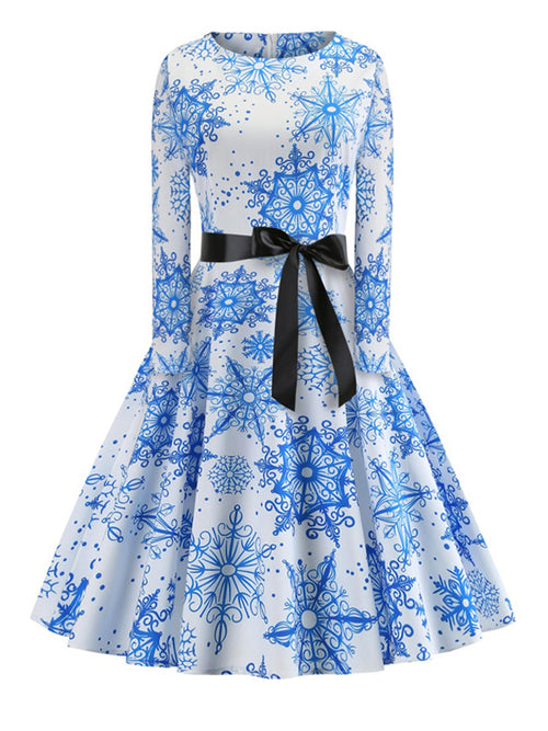 Laceshe Women's Christmas Snowflake Vintage Dress