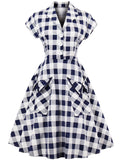 LaceShe Women's Lapel Short Sleeve Vintage Dress