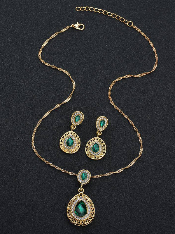 LaceShe Gold Plated Green Teardrop Crystal Necklace Earrings Jewelry Sets