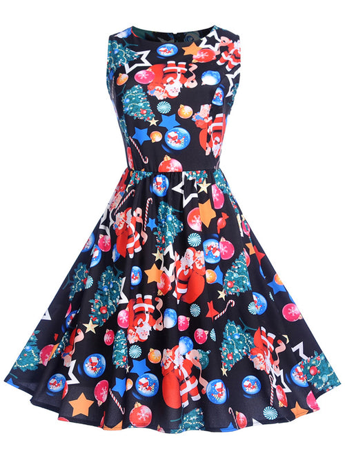 Laceshe Women's Christmas Image Round Collar Vintage Dress