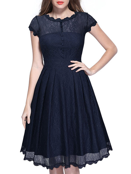 LaceShe Women Floral Lace Cap Sleeve Cocktail Dress