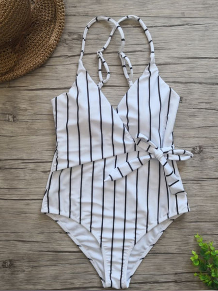 LaceShe Striped One-piece Swimsuit