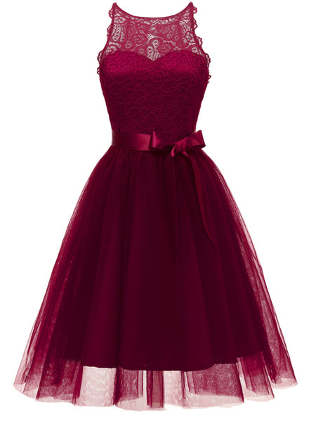 LaceShe Women's Fashion A-line Lace Cocktail Dress