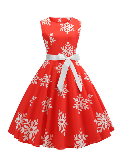 Laceshe Women's Retro Christmas Snowflake Print Vintage Dress