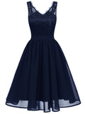 LaceShe Women's V-Neck Ball Gown Lace Dress With Zipper