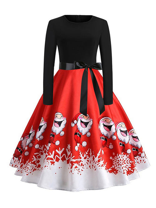Laceshe Women's Big Swing Christmas Santa Print Vintage Dress