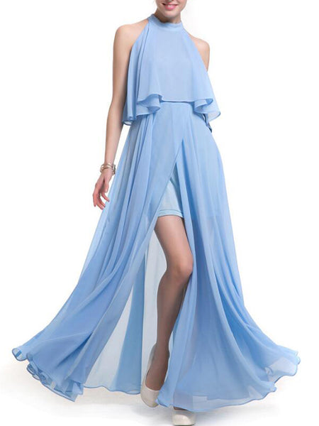 LaceShe Women's Halter Neck Sleeveless Chiffon Dress