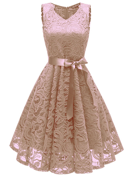 LaceShe Women Floral Lace Bridesmaid Short Dress