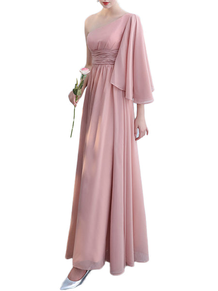 LaceShe Women's Blush Chiffon Bridesmaid Dress