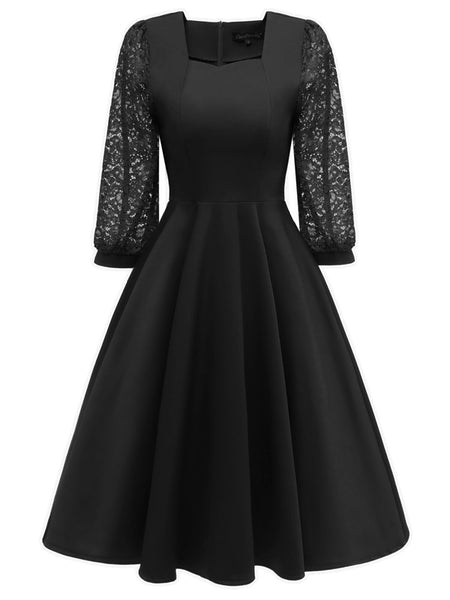LaceShe Women's Square Neck Vintage Lace Dress