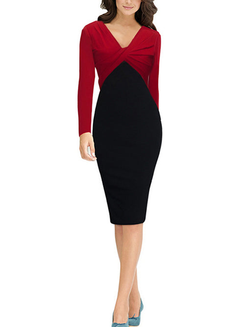 LaceShe Women's Long Sleeve V-Neck Pencil Dress
