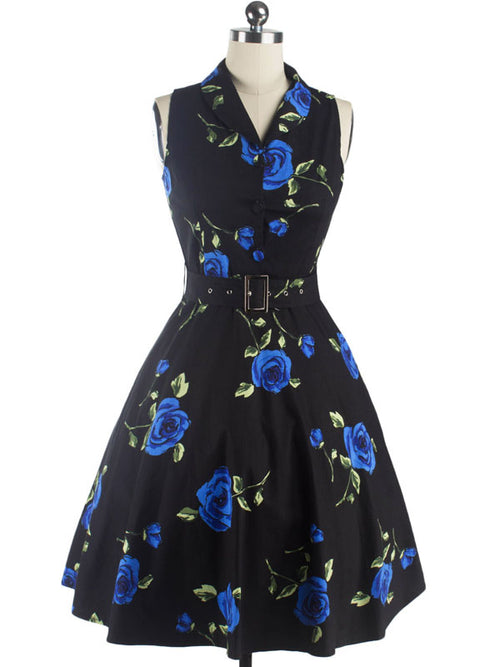 LaceShe Women's Rose Floral Wing Collar Vintage Dress