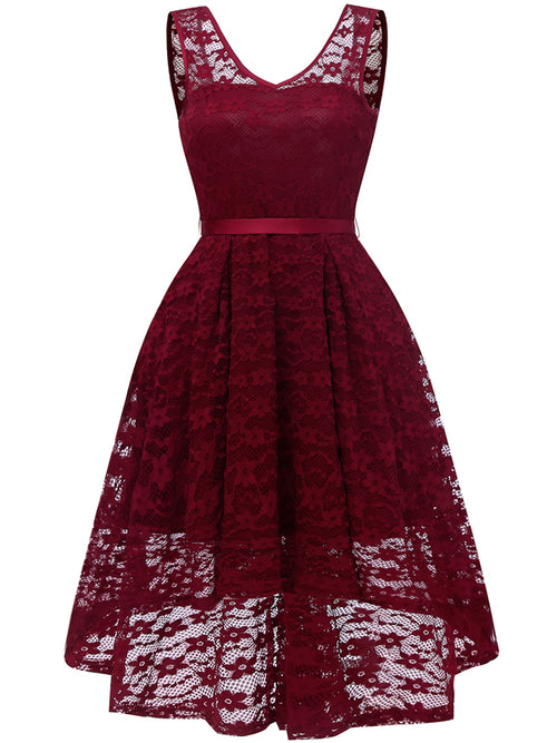 LaceShe Women's Sleeveless V-Neck Lace Dress With Sash