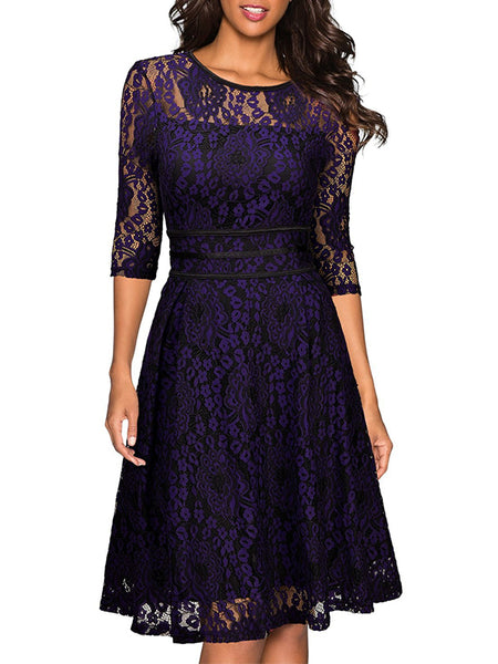 LaceShe Women's Vintage Lace Floral Swing Dress