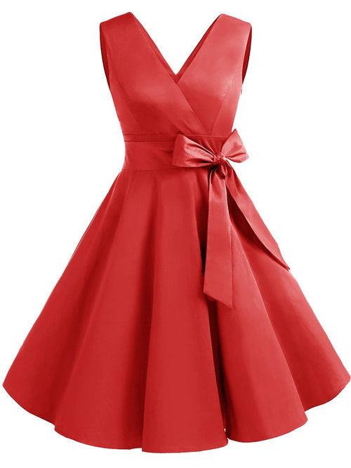 LaceShe Vintage 1950s Solid Color V Neck Retro Swing Dress