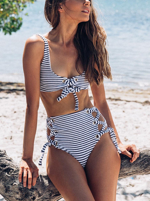 LaceShe Summer Stay Young Stripe Bikini Set