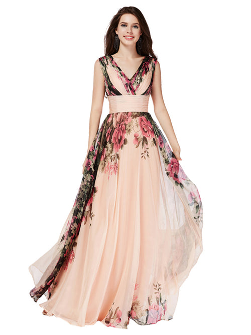 Laceshe Women's Pageant Floral Printed Bridesmaid Long Dress