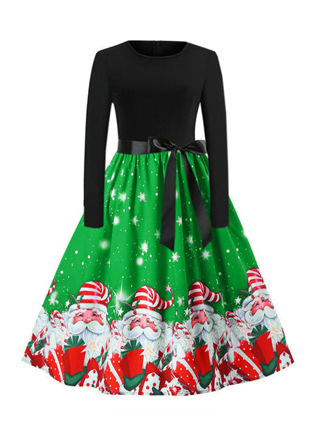 Laceshe Women's Christmas Snowflake Print Causal Long Dress