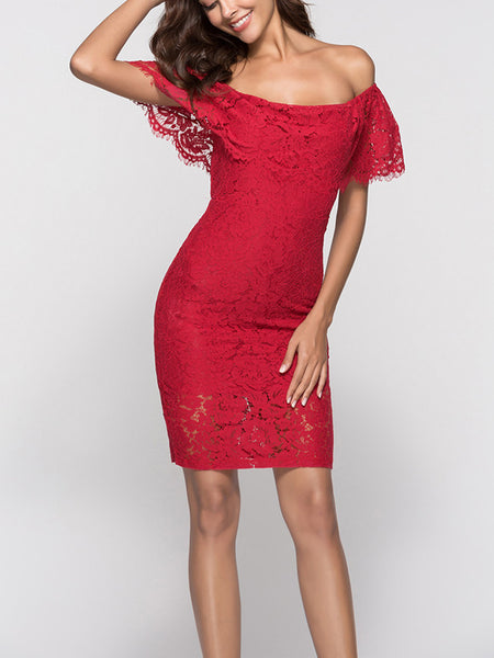 LaceShe Women's Flirty Short Off-the-Shoulder Lace Dress