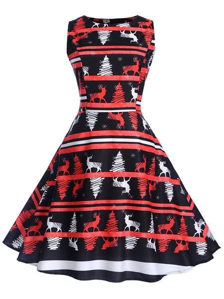 Laceshe Women's Christmas Theme Reindeer Print Vintage Dress