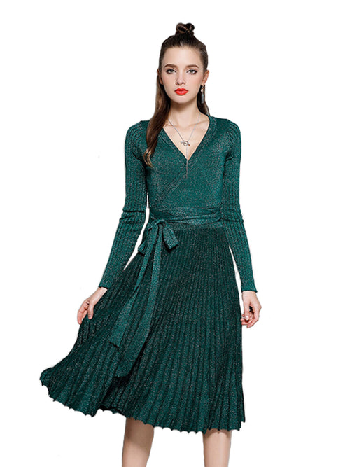 Laceshe Women's V Neck Pleated Knit Chic Dress