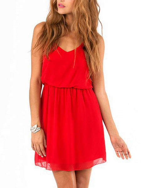 LaceShe Women's Sleeveless Double-Layered Pleated Mini Summer Dress
