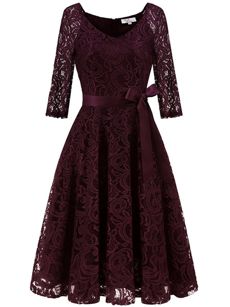 LaceShe Elegant V Neck 3/4 Sleeve Bridesmaid Lace Dress