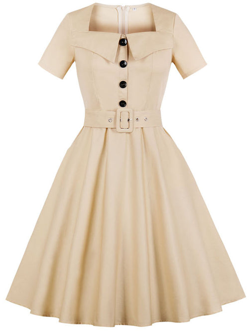 LaceShe Women's Short Sleeve With Belt Vintage Dress