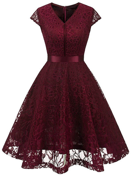 LaceShe Women's  A Line V Neck Gorgeous Lace Dress