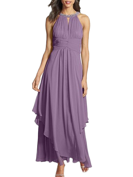 LaceShe Women's Sleeveless Chiffon Long Dress