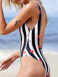 LaceShe Cherry Printed Deep V-neck One Piece Swimsuit
