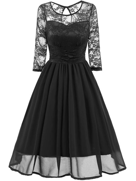 LaceShe Women's Vintage Floral Lace Dress