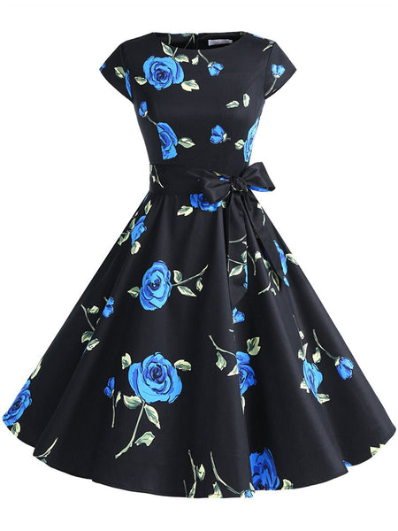 LaceShe Classic Floral Sleeveless Cocktail Dress