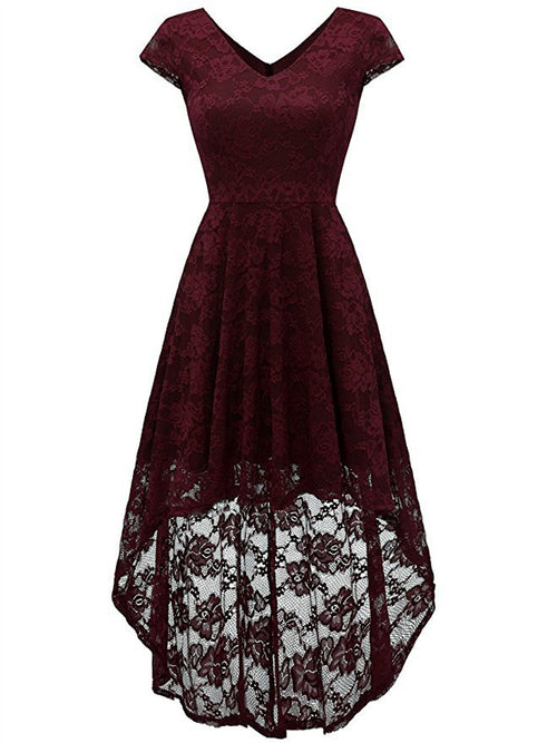 LaceShe Women's Vintage Lace Hi-Lo Cocktail Formal Swing Dress