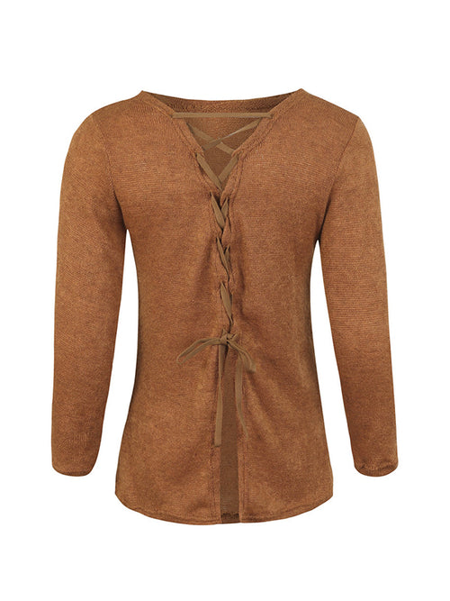 Laceshe Women's Sexy Back Lace Up Sweater
