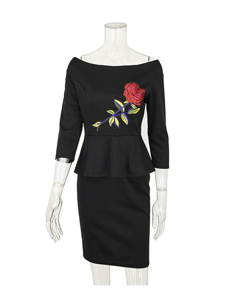 Laceshe Women's 3/4 Sleeve Floral Applique Pencil Dress