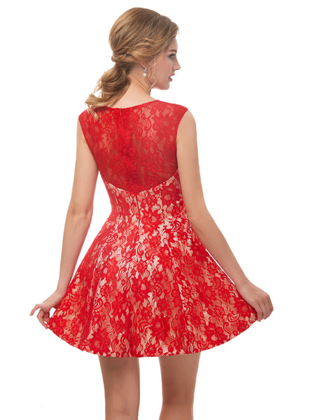 Laceshe Women's Floral Lace Sleeveless Short Bridesmaid Dress