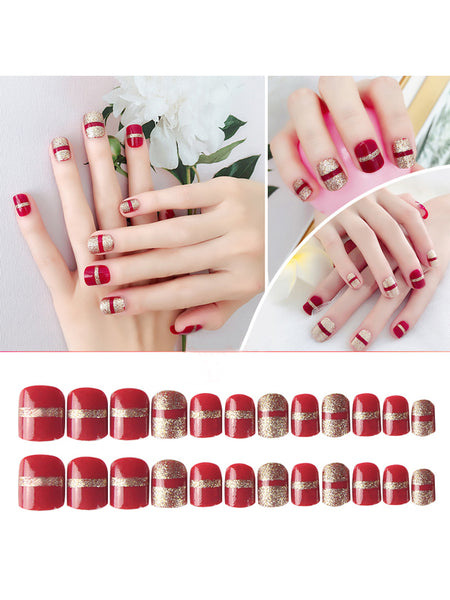 LaceShe Short Red And Gold Art Design Fake Nails