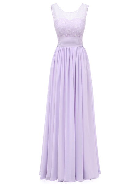 Laceshe Women's Lace Ombre Long Prom Bridesmaid Dress