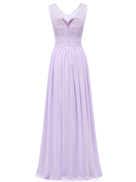 LaceShe Women's Spoon Neck Chiffon Bridesmaid Dress