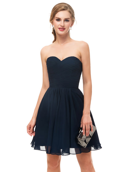 Laceshe Women's Short Strapless Sweetheart Bridesmaid Dress